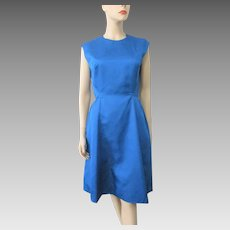 Mod Royal Blue Dress Vintage 1960s Sleeveless Jackie O