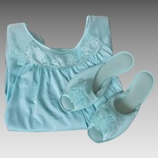 Blue Baby Doll Negligee Matching Slippers Vintage 1960s Womens Lingerie Set