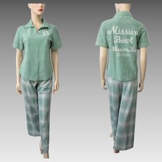Bowling Shirt Plaid Pants Skirt Sets Vintage 1970s Sage Green Sportswear