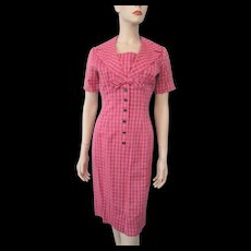 Pink Plaid Vintage 1940s Womens Dress Bow Rayon
