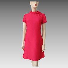 Mod Hot Pink Shift Dress Vintage 1960s Buttons Bows Silk