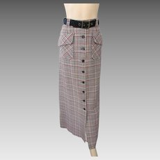 Maxi Skirt Vintage 1970s Wool Houndstooth Plaid Navy Belt