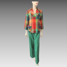 Fall Colors Pants Suit Vintage 1970s Plaid Tweed Tunic Top Green Pants