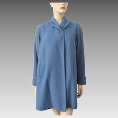 Blue Wrap Swing Coat Vintage 1950s Womens Fall Jacket