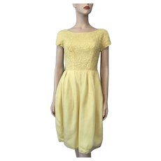 Yellow Chiffon Cocktail Dress Vintage 1960s Ribbon Lace