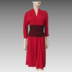 Red Rayon Dress Vintage 1940s Black Beaded Floral Lace Dorothy Hubbs