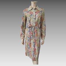 Cotton Shirt Dress Vintage 1970s Paisley Print Belt