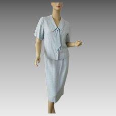 Womens Suit Jacket Skirt Vintage 1940s Blue Boucle