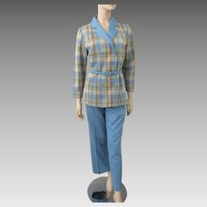 Womens Pants Suit Jacket Vintage 1970s Blue Wool Plaid Fall Fashion
