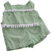 Girls Gingham Play Set Vintage 1950s Green White Shirt Shorts