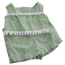 Girls Gingham Play Set Vintage 1950s Green White Shirt Shorts