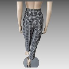 Cigarette Pants Petal Pushers Vintage 1950s Black White Plaid Corduroy
