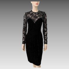 Black Velvet Wiggle Dress Vintage 1960s Illusion Lace Evening Special Occasion