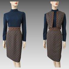 Mod Womens Suit Vintage 1960s Navy Blue Brown Dress Vest Set