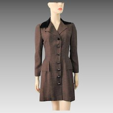 Coat Dress Vintage 1940s Brown Black Petite Lady Jet Glass Buttons