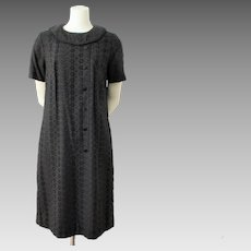 Black Mod Shift Dress Vintage 1960s Eyelet Lace Large