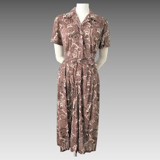 Rayon Shirt Dress Vintage 1950s Brown Rayon Paisley Belt
