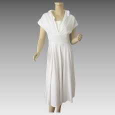 White Linen Day Dress Vintage 1950s Fit And Flare