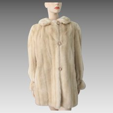 Faux Mink Fur Coat Vintage 1960s Mod Womens Honey Blonde Tissavel France