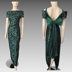 Green Illusion Lace Evening Gown Dress Vintage 1980s Off The Shoulder Large