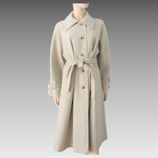 Wool Swing Coat Vintage 1970s Beige Taupe Belt Flared Large