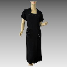 Little Black Dress Vintage 1940s Beaded Rayon Evening Cocktail Large