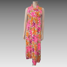 Floral Maxi Dress Vintage 1960s Hippie Flower Power Sleeveless