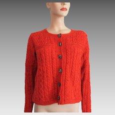 Orange Cardigan Sweater Vintage 1980s Irish Hand Knit Wool Carraig Donn
