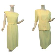 Yellow Linen Crocheted Lace Womens Suit Vintage 1970s Dress Sweater