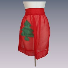 Red Nylon Apron Vintage 1950s Cocktail Hostess Christmas Tree