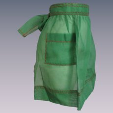 Green Cocktail Apron Vintage 1950s Red Trim Christmas Holiday