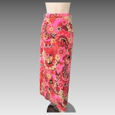 Psychedelic Velvet Skirt Vintage 1970s Maxi Hot Pink Hippie Flowers
