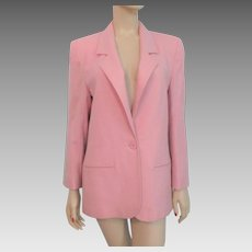 Pink Pendleton Wool Jacket Vintage 1980s Career Blazer