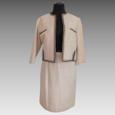 Wool Jacket Wiggle Skirt Suit Vintage 1950s Beige Brown Braided Trim