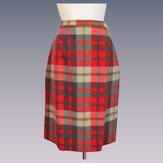 Pendleton Plaid Wool Skirt Vintage 1980s Career Fall Colors