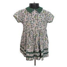 Girls Cotton Dress Vintage 1950s Fit and Flare Novelty Print Kate Greenaway
