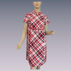 Mod Plaid Shift Dress Vintage 1960s Red White Blue Wool Large