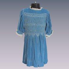 Girls Blue Velvet Dress Vintage 1930s Flocked Belt Bow