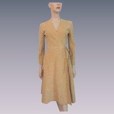 Ultrasuede Wrap Dress Vintage 1970s Tan Samuel Robert Hovland Swanson