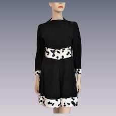 Mod Black Wool Shift Dress Vintage 1960s Dalmation Faux Fur
