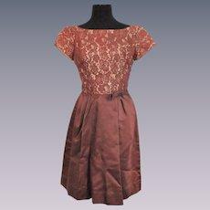 Cocktail Party Dress Vintage 1960s Brown Illusion Lace Satin