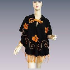 Black Wool Poncho Cape Vintage 1970s Embroidered Fringe Boho Bohemian