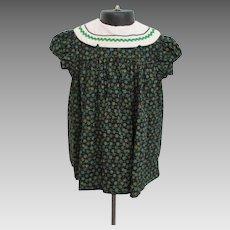 Girls Cotton Print Dress Vintage 1970s Black Green Floral