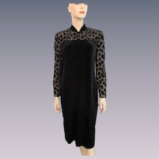 Deadstock Evening Dress Vintage 1970s Black Velvet Illusion Lace NWT