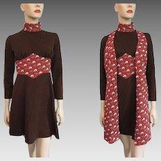 Mini Go Go Dress Vest Vintage 1970s Novelty Clown Print Brown