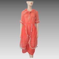 Vintage 1920 Coral Organdy Dress Late Edwardian Sub Deb Lace