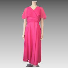 Miss Elliette Hot Pink Dress Gown Vintage 1970s Maxi Party Prom
