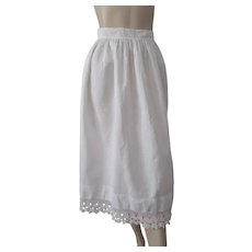 Antique Victorian Apron White Rick Rack Crocheted Lace Trim