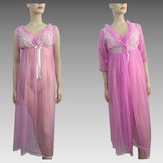 Lavender Lingerie Peignoir Set Vintage 1960s Belle Smith Negligee Nightgown Robe Nylon Lace