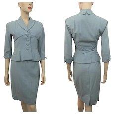 Womens Vintage 1940s Suit Skirt Jacket Blue Wool Bow Details